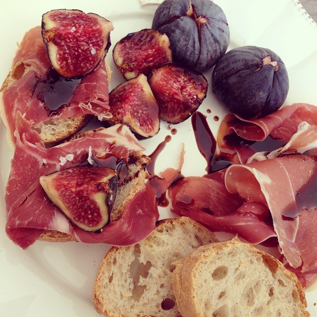 Fig Summer Lunch, with Parmaham and balsamic vinegar
