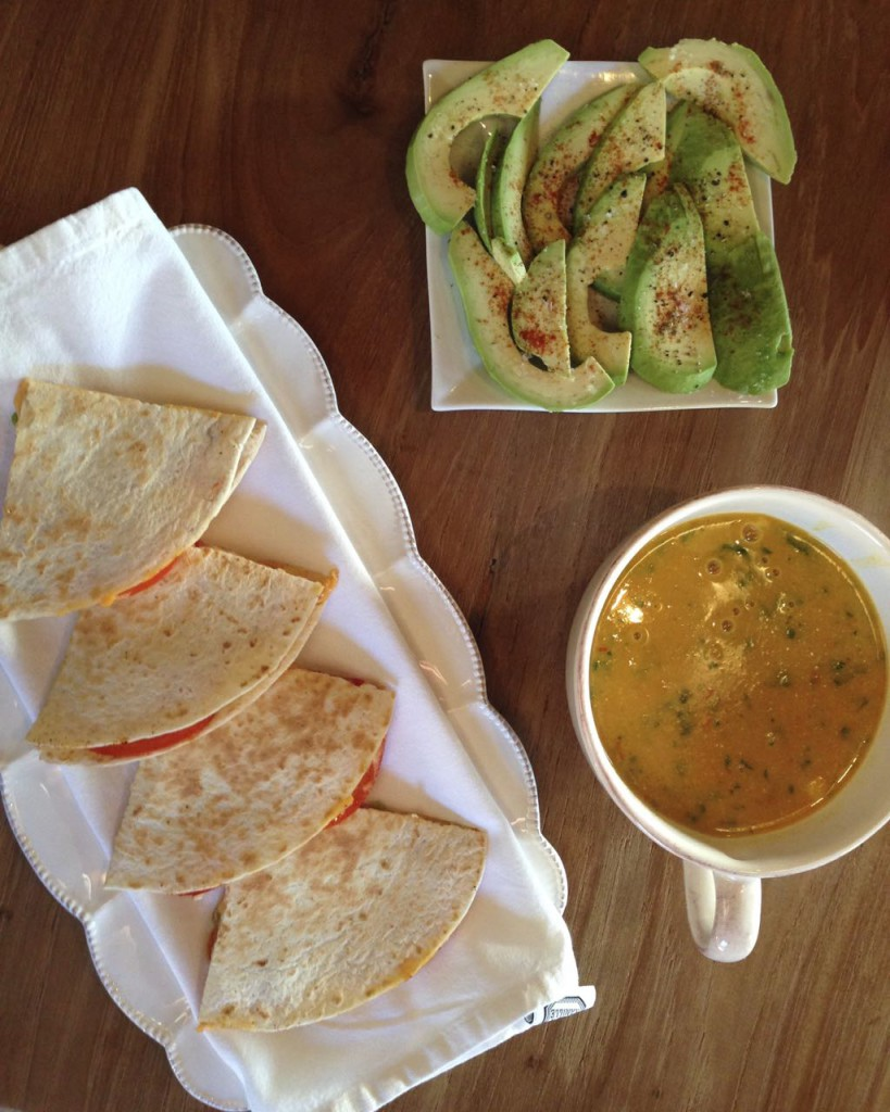 Corn Soup With Quesadillas and Avocado - Mexican food with Chilli and Garlic