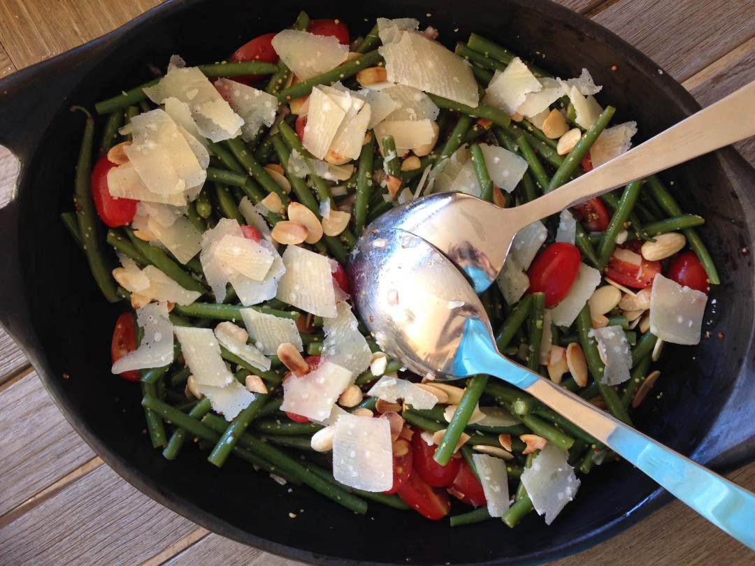Green bean salad Parmesan tomato mustard olive oil vinegar almonds