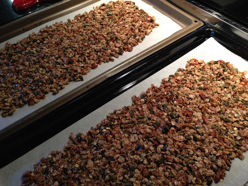 bake it on oven trays in a 180 degrees Celsius oven and end up with crisp nutty and healthy muesli granola