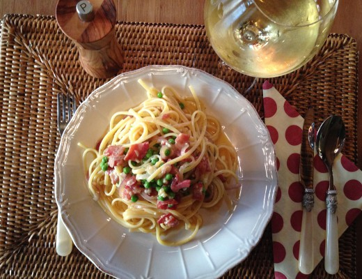Spaghetti Carbonara is a simple Italian dish with Procuitto Parmesan Cheese Pasta eggs and black pepper
