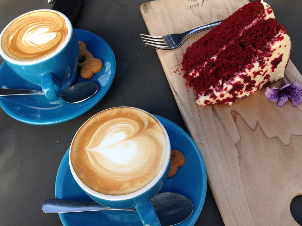 Cappuccino and Red Velvet Cake. At Terbodore Coffee in Franschhoek. They also have a roastery in the Midlands. Great!