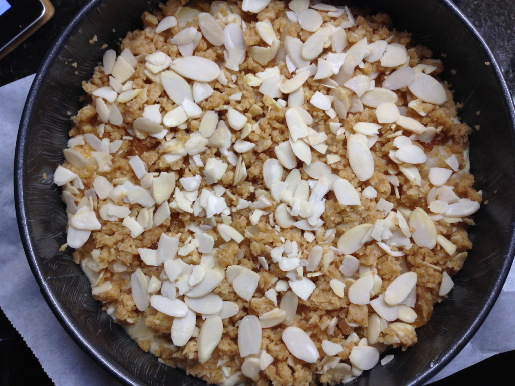 Simple to make almond and pear cake with crumble topping and almond flakes