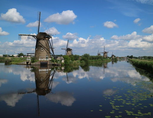 Kinderdijk, Windmills, Famous Dutch landscape, near Rotterdam, The Netherlands