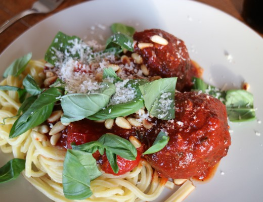 Spaghetti Meatballs with home made tomato sauce, basil, Parmesan cheese, fresh pasta