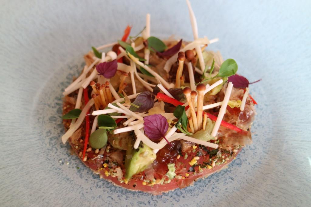 Delicious tuna wasabi mushroom tartar