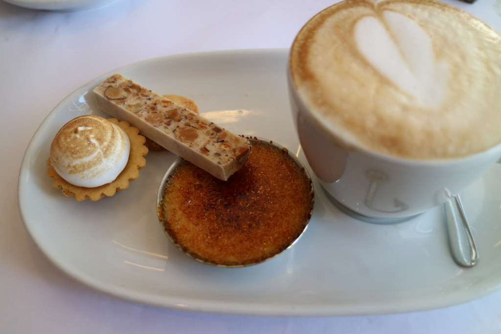 Coffee with Lemon Meringue, Nougat, Almond cookie and mini creme brûlée