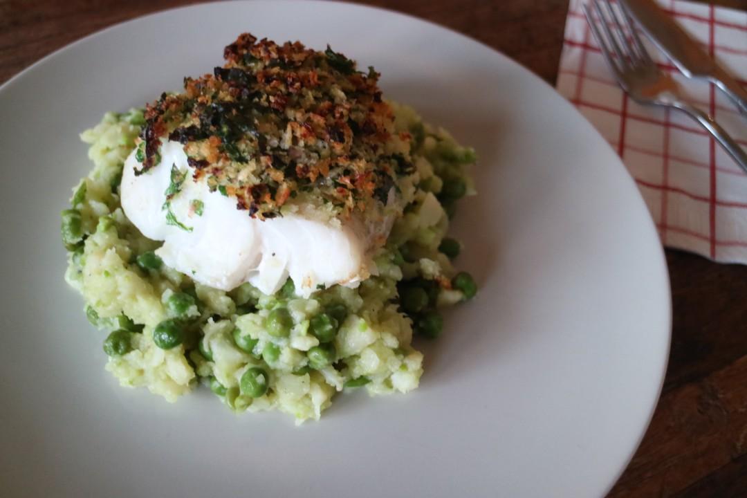 Codfish with celeriac and pea puree