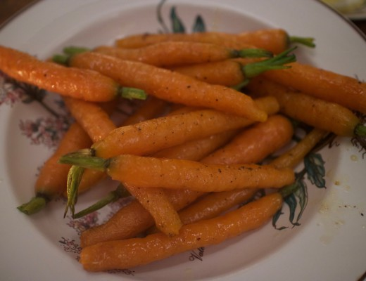 Glaced Carrots, side dish,with honey and olive oil in the oven