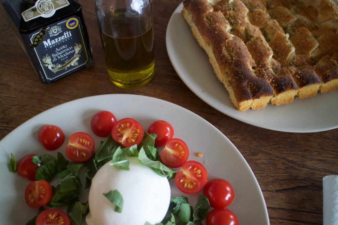 Burrata tomato basil balsamico vinegar virgin olive oil focaccia, Italian Lunch
