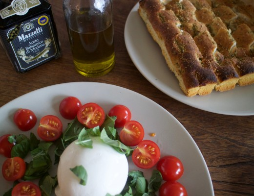 Burrata tomato basil balsamico vinegar virgin olive oil focaccia, Italian Lunch