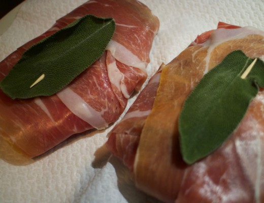 Saltimbocca alla Romana, sage, Parmaham, Serranoham, Veal medaillons and madeira and marsala sauce