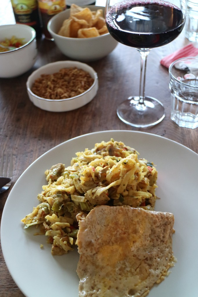Nasi Goreng; Dutch Chinese Indonesian Cuisine Kitchen, chicken, pork, vegetables spices, prawn crackers, kroepoek, sambal oelek, sambal badjak