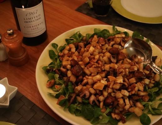 Pastinaak, paddestoelen en walnoten uit de oven, met Balsamico appelsap glazuur