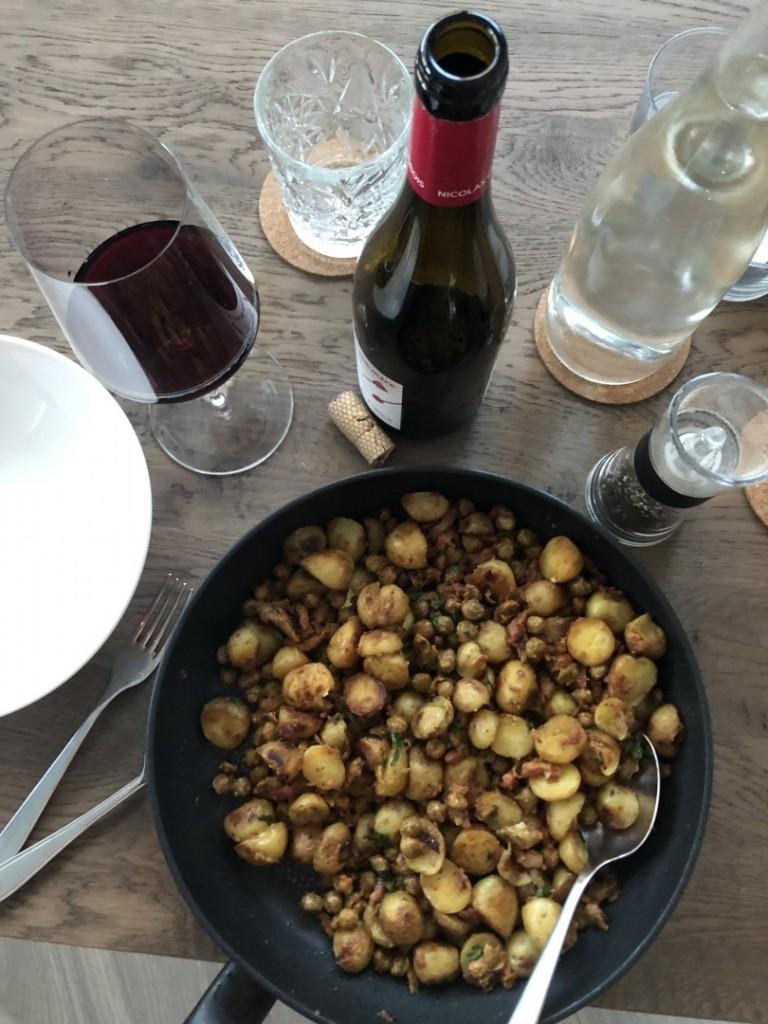 Kapucijners met spek peterselie en mosterd, aardappels Bas van Kranen, Crisiskoken